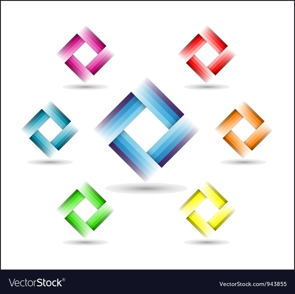 Color rectangle symbol vector