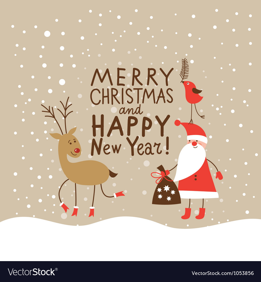 Christmas card with handwritten text vector