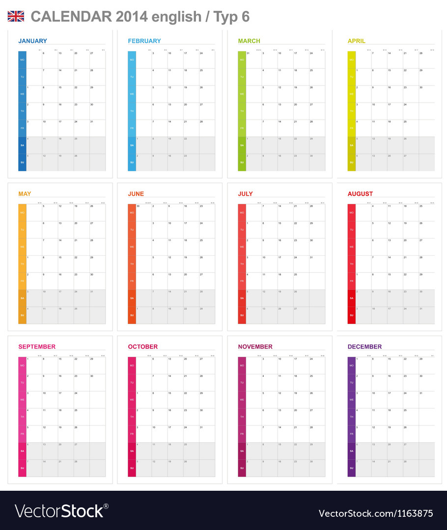 Calendar 2014 english type 6 vector