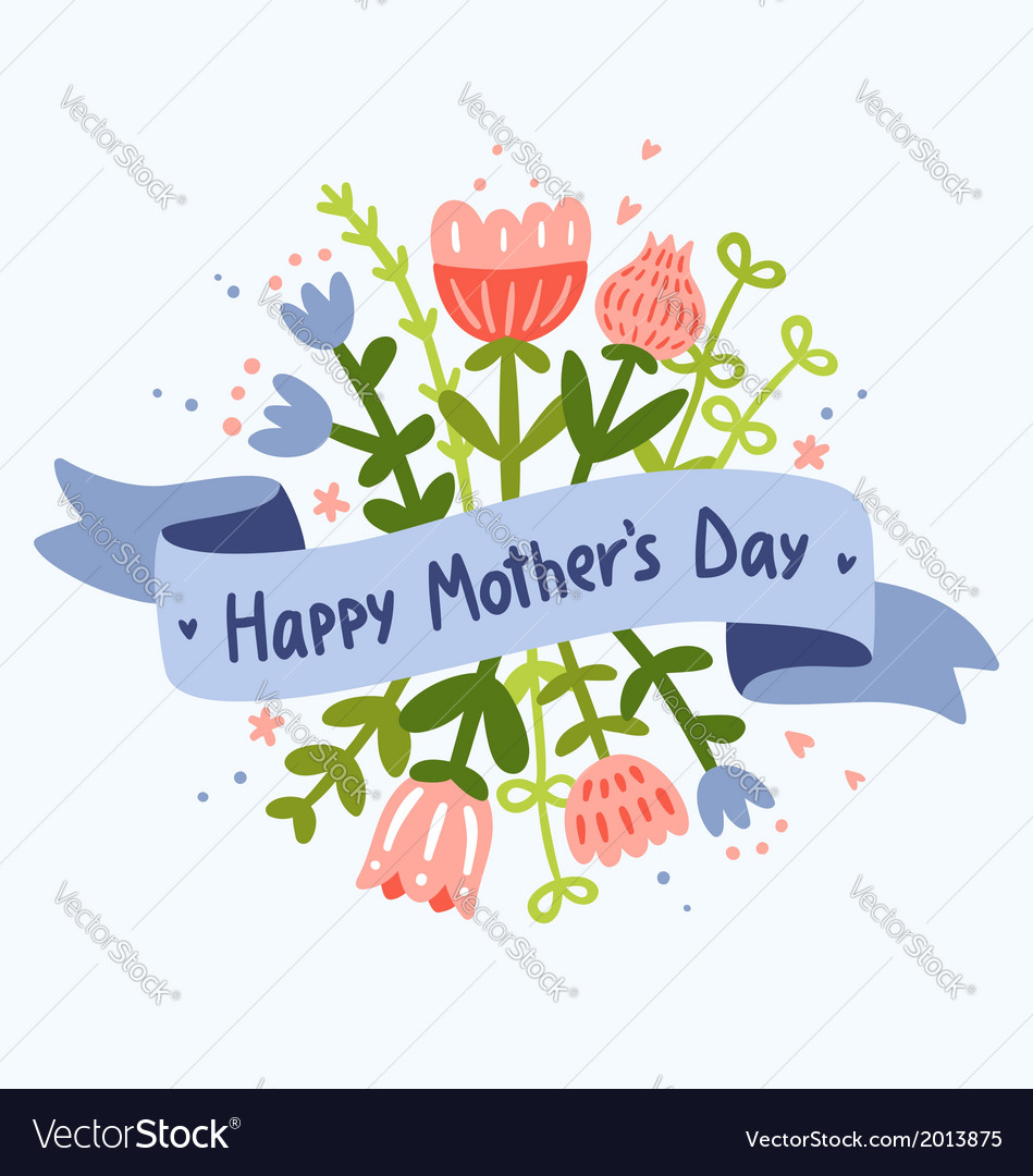 Happy mothers day floral greeting vector