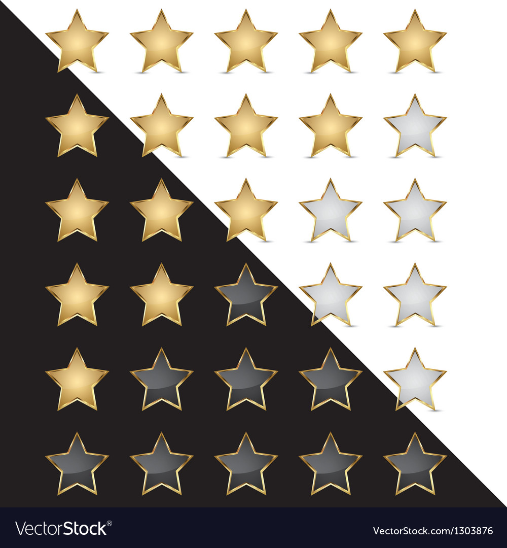 Elegant golden rating stars vector