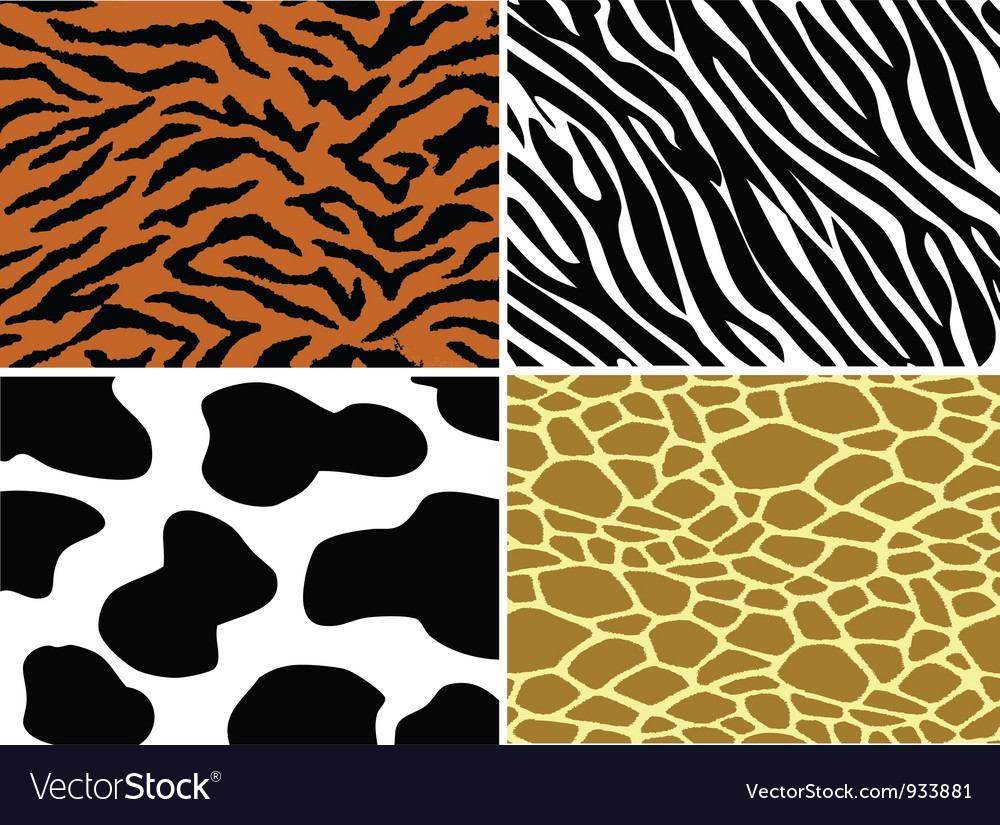 Tiger zebra cow and giraffe print vector