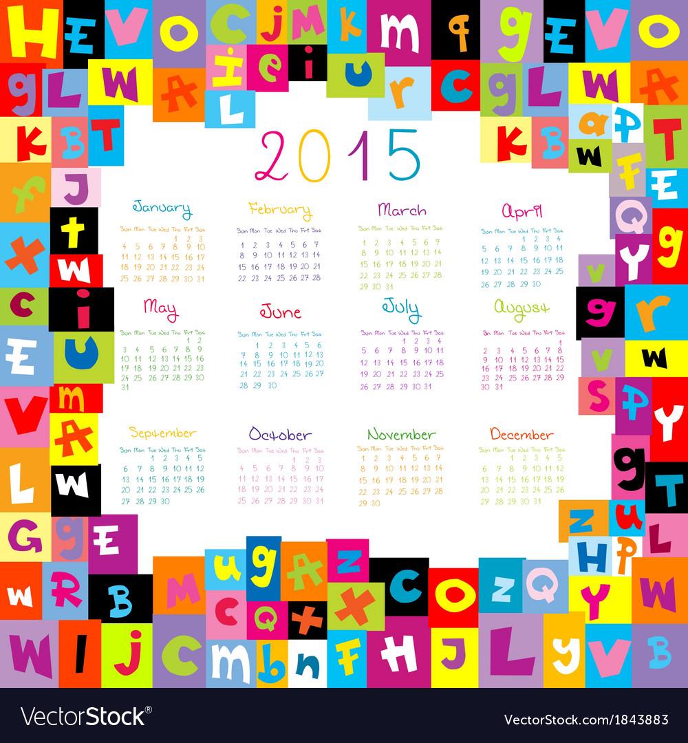 Cute January Calendar 2015