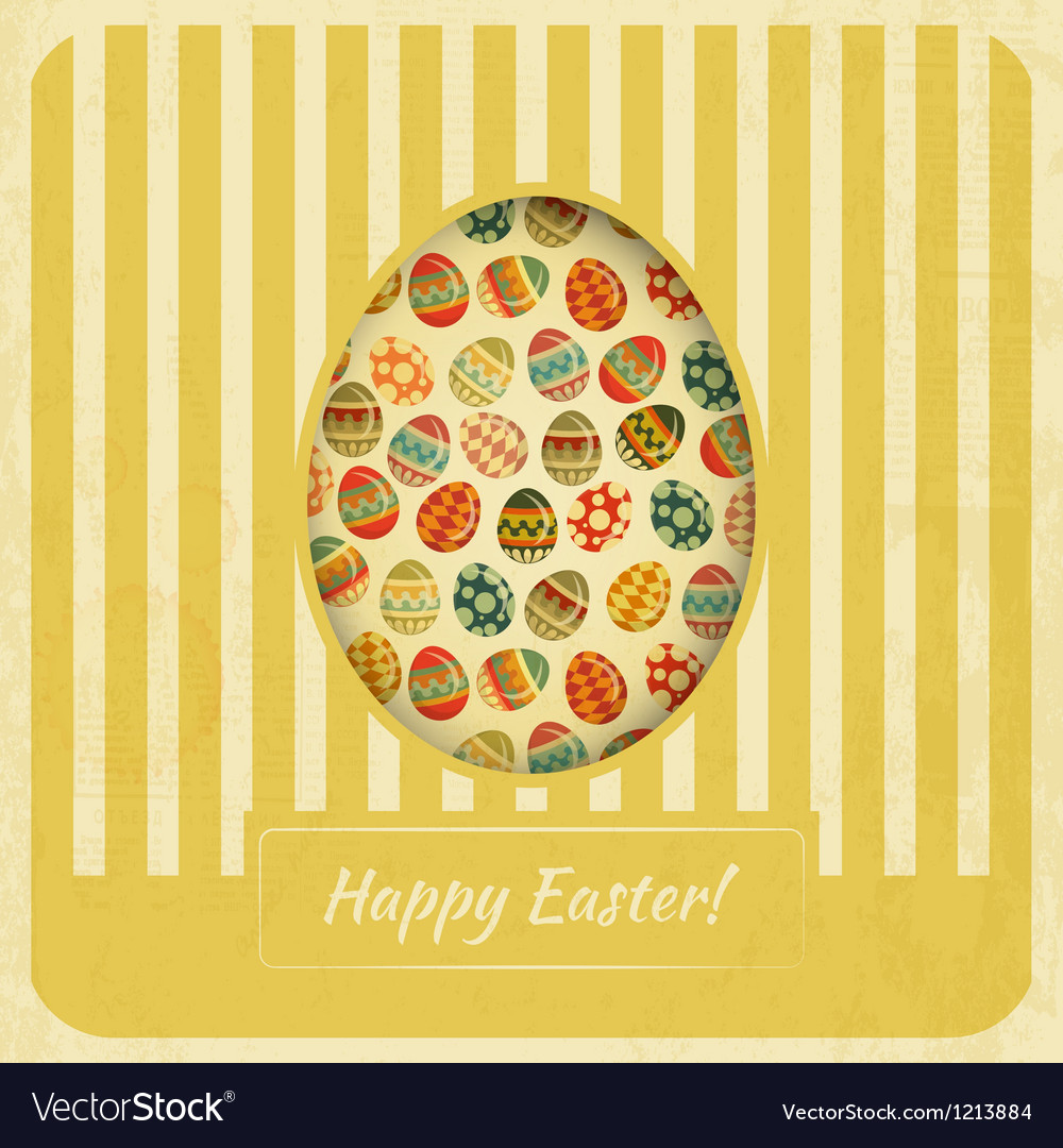 Vintage yellow easter card vector
