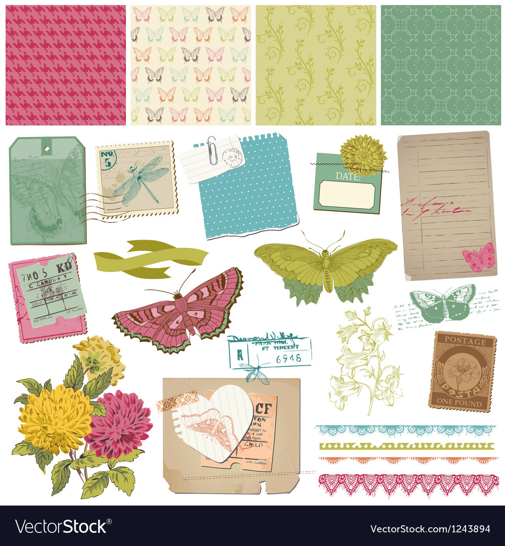 Vintage butteflies and flowers vector