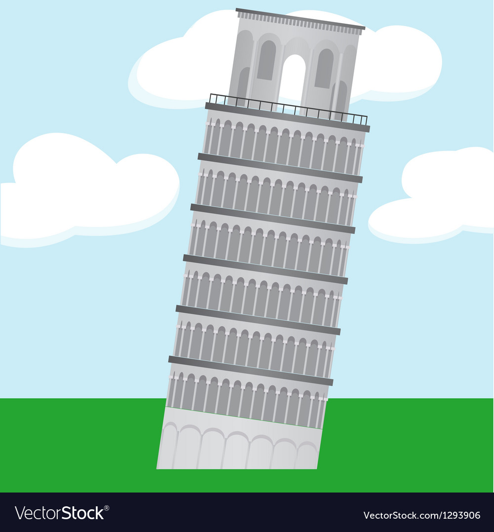 Cartoon learning tower of pisa vector