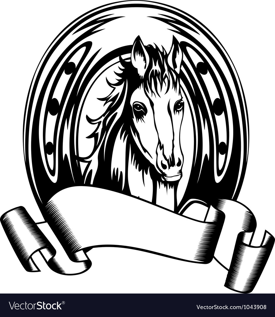 Head horse in horse shoe vector