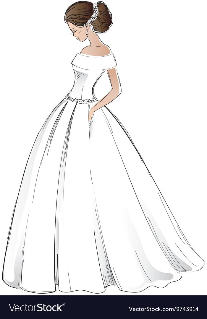 Sketch Of Young Bride Model In Wedding Dress Vector By