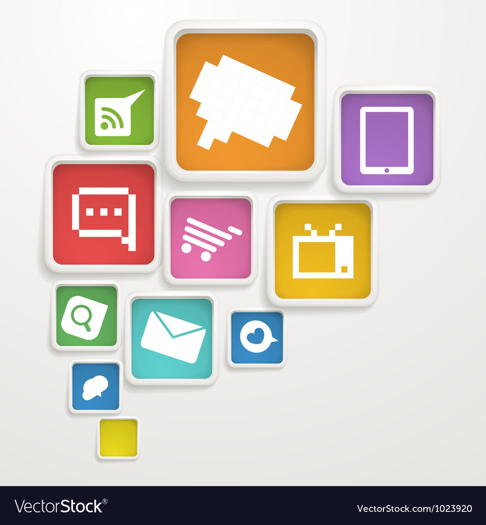 Abstract background of boxes with media icons vector