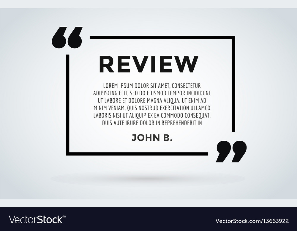 website review quote citation blank template vector by adekvat image 13663922 vectorstock. Black Bedroom Furniture Sets. Home Design Ideas