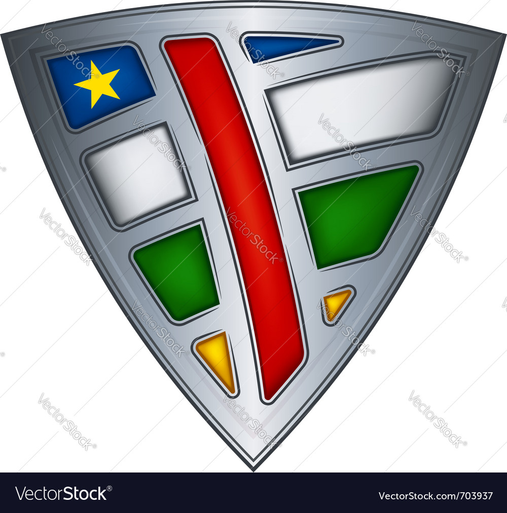 Steel shield with flag central african republic vector