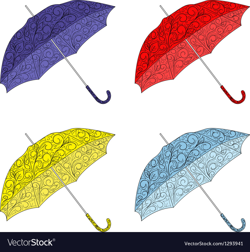 Colorful painted umbrellas vector
