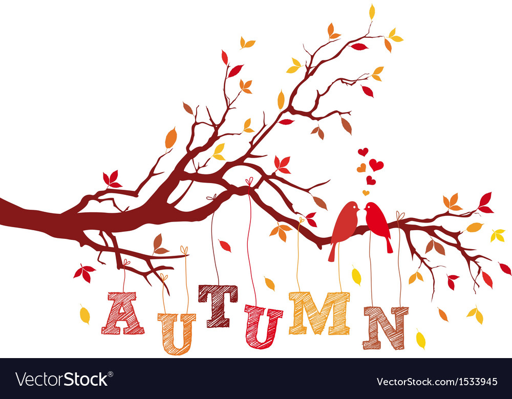 Autumn tree branch with birds vector