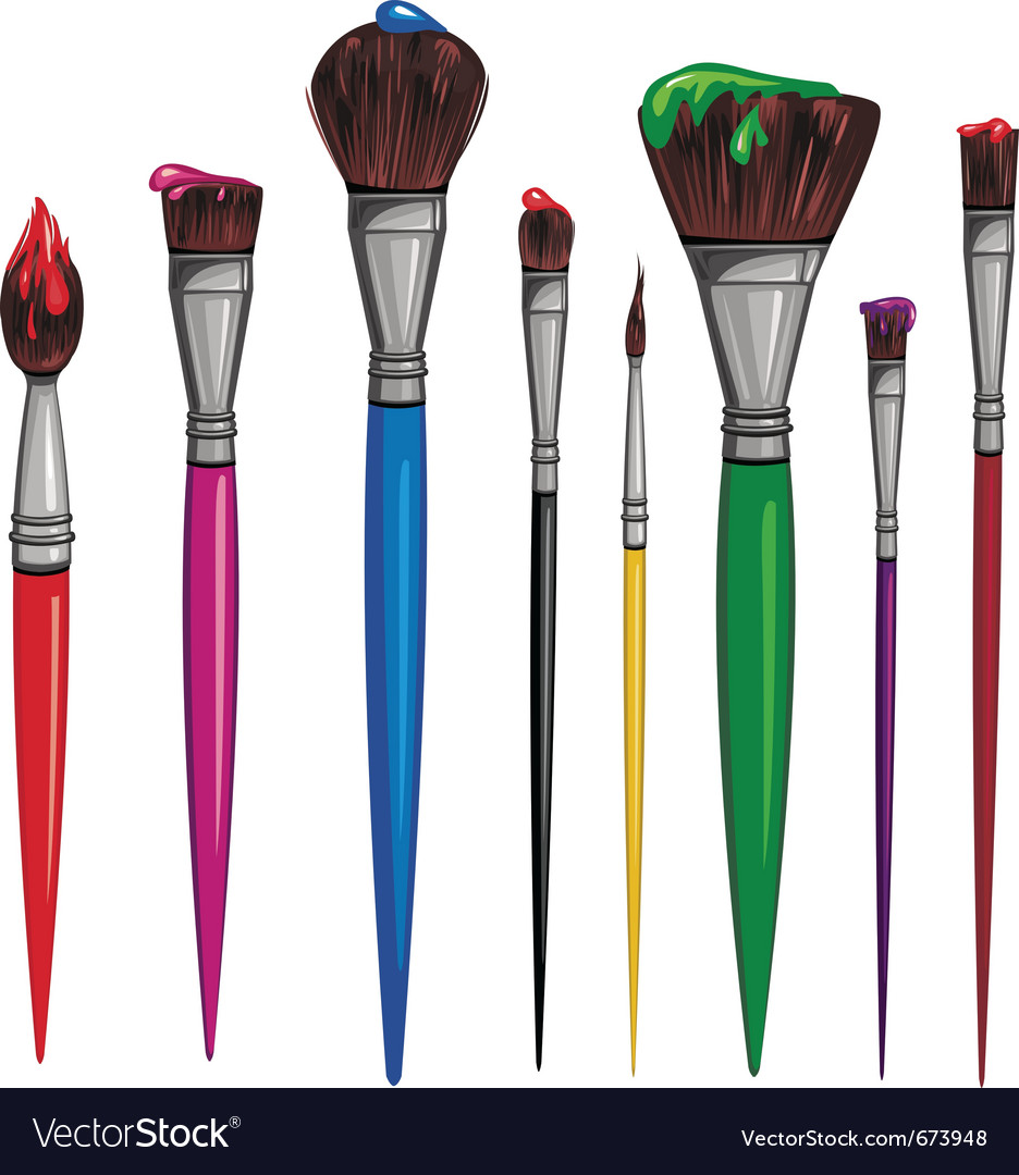 Different paintbrush vector