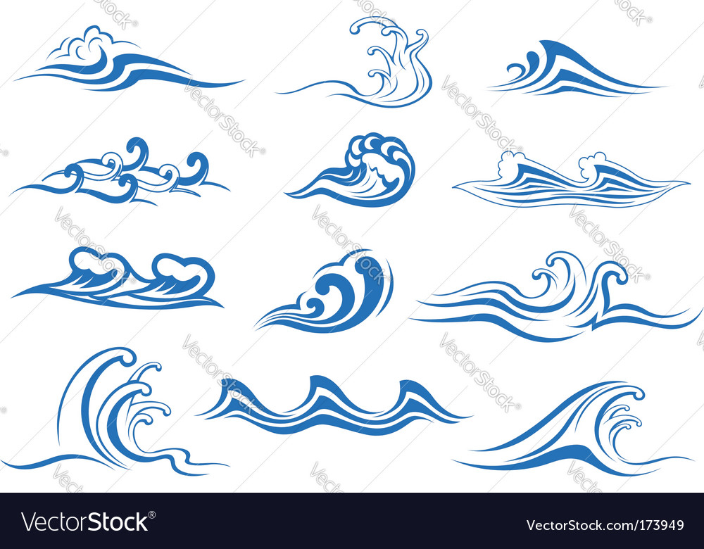 Set of wave symbols vector