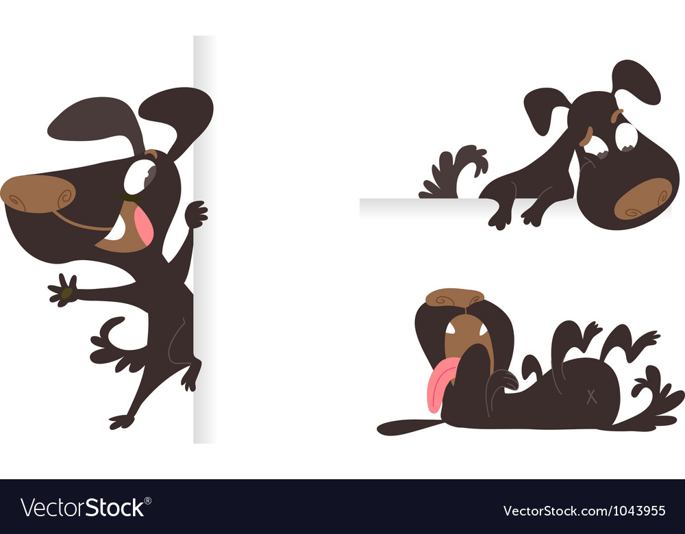 Set of tree black cartoon dogs vector
