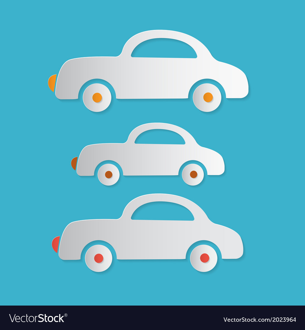 Paper cars on blue background vector