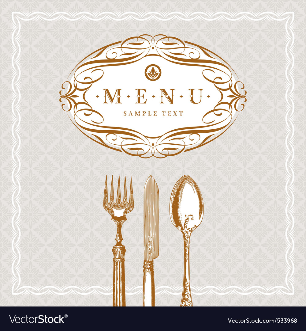 Menu with vintage cutlery vector