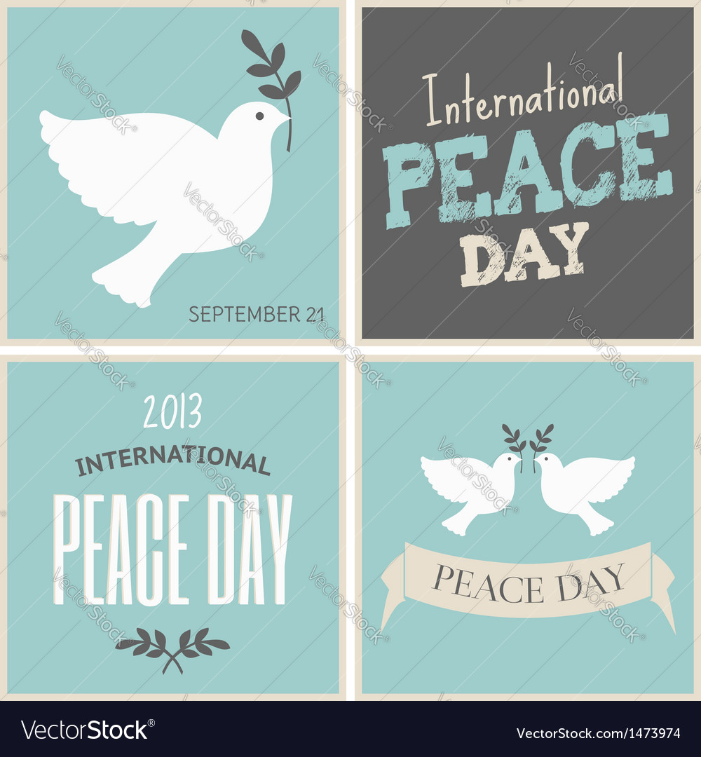 Peace day symbols card collection vector