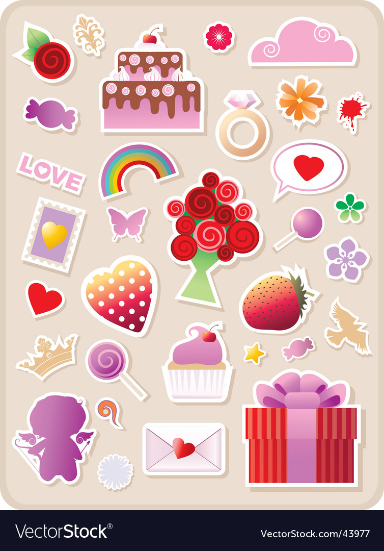 Valentines stickers vector