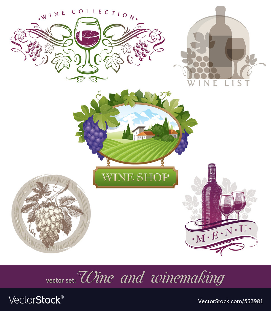 Wine winemaking emblems vector