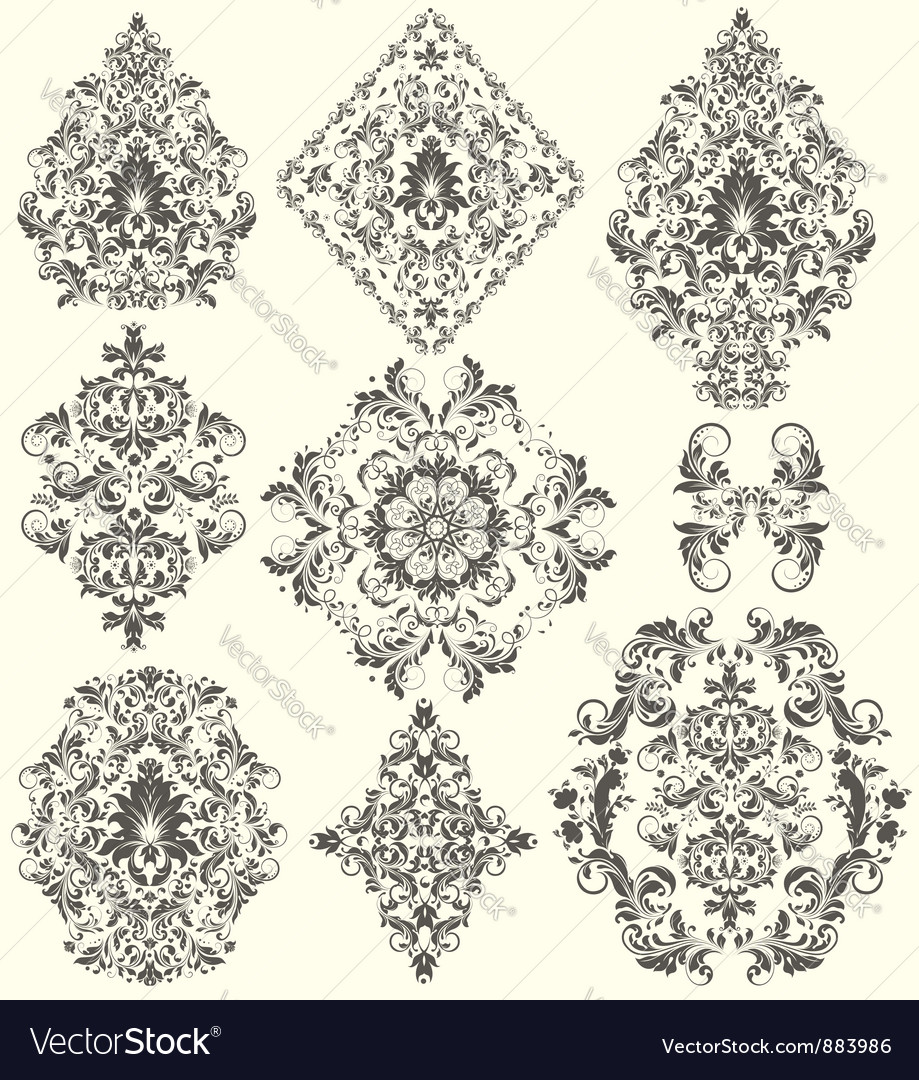 Set of ornate ornaments vector
