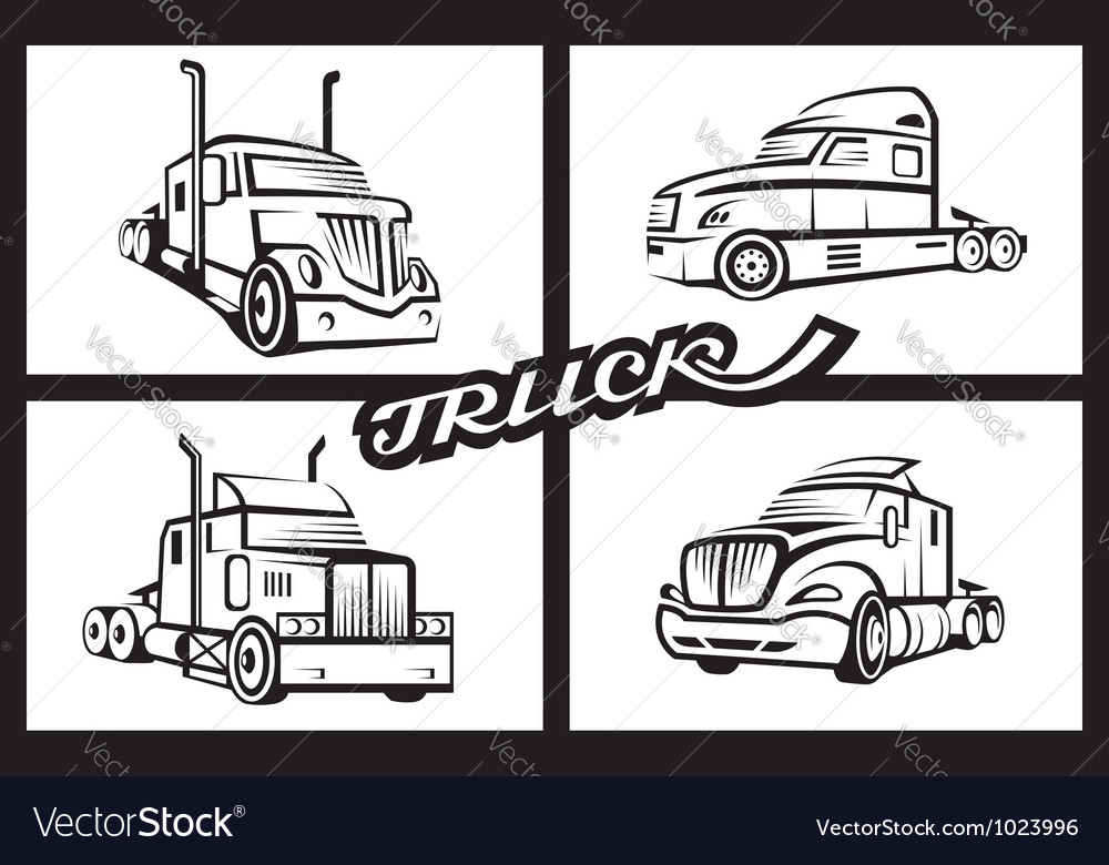Set of trucks vector