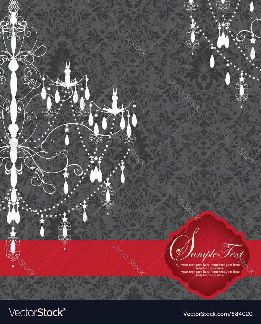 Romantic invitation card design with chandelier vector