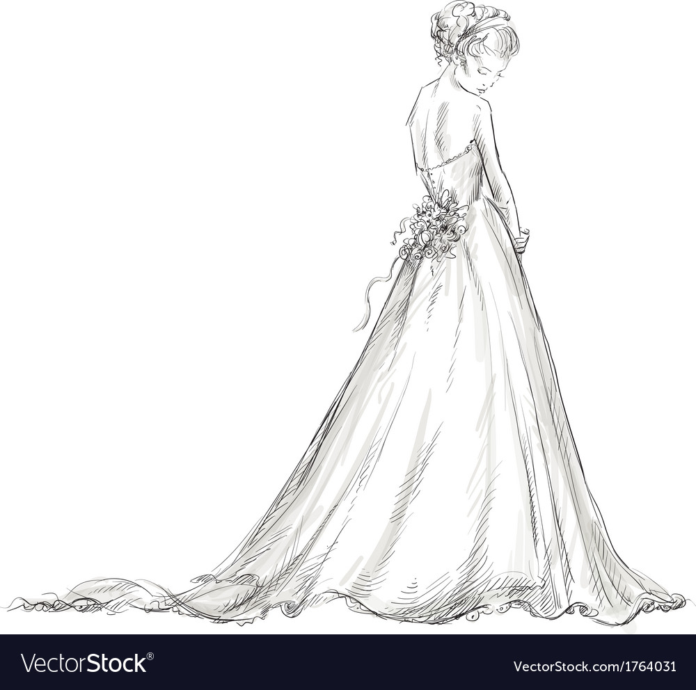 Bride Beautiful Young Girl In A Wedding Dress Vector By