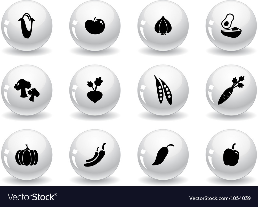 Web buttons vegetables icons vector