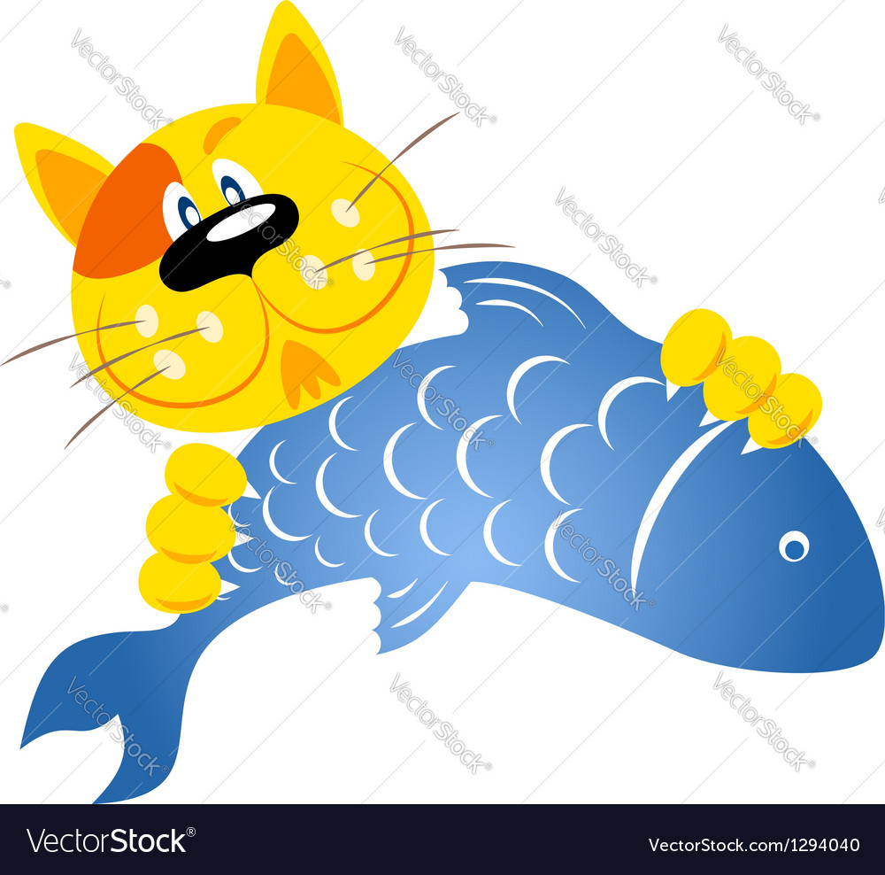 Cat caught a fish vector