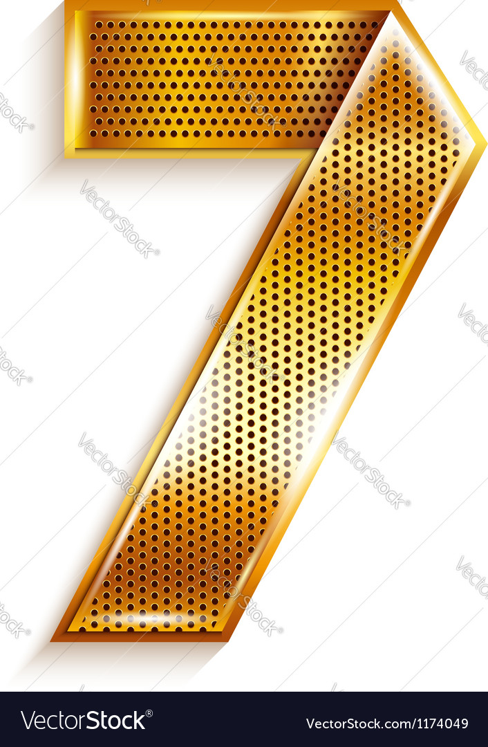 Number metal gold ribbon  7  seven vector
