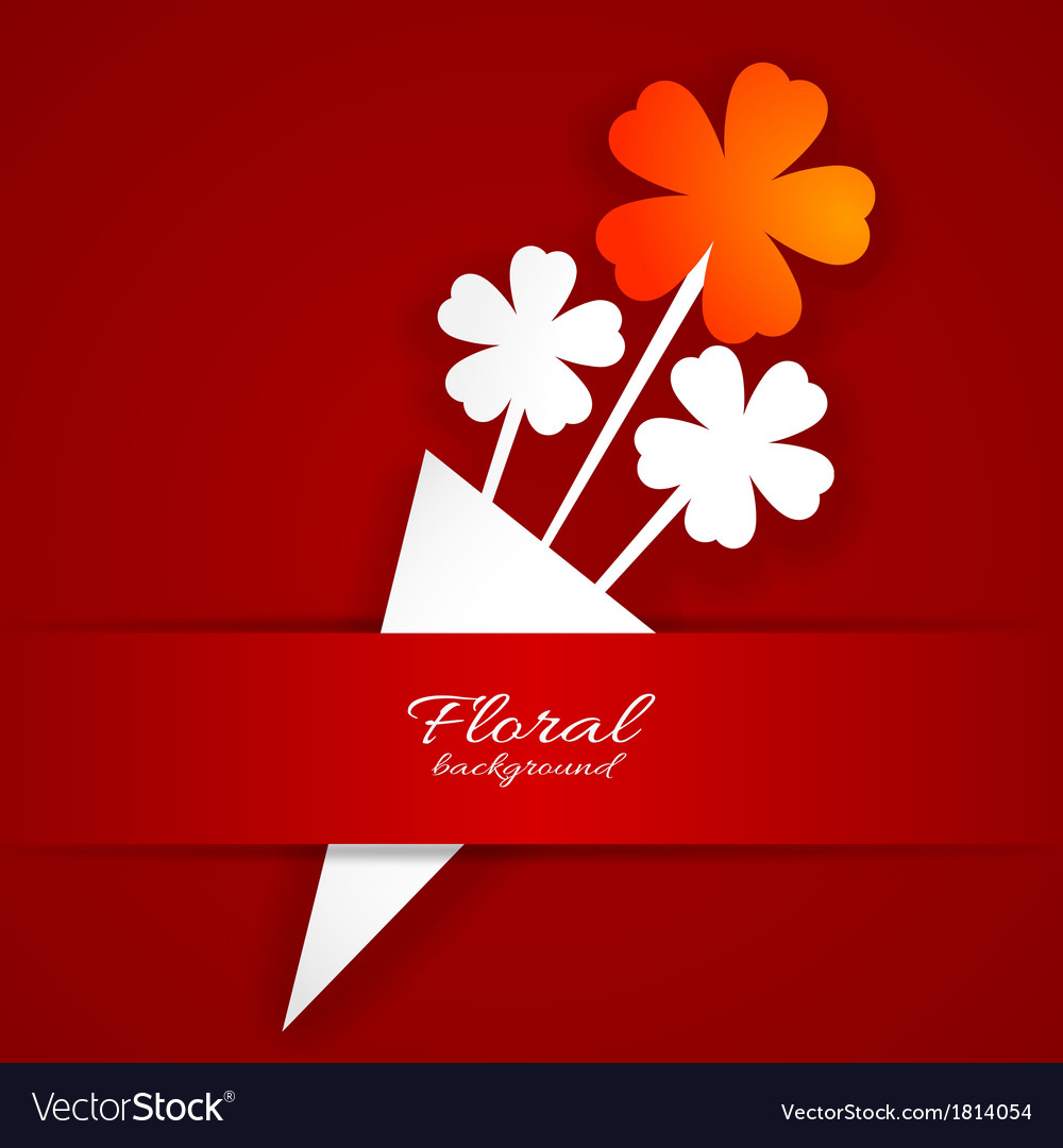 Abstract paper flower on a red background