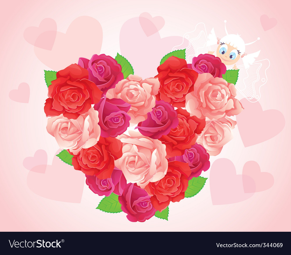 Roses heart card vector