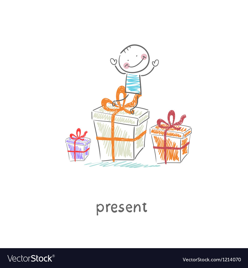 A man and a gift vector