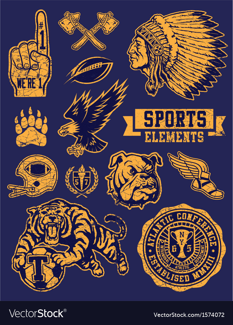 Sports mascots and logo set vector