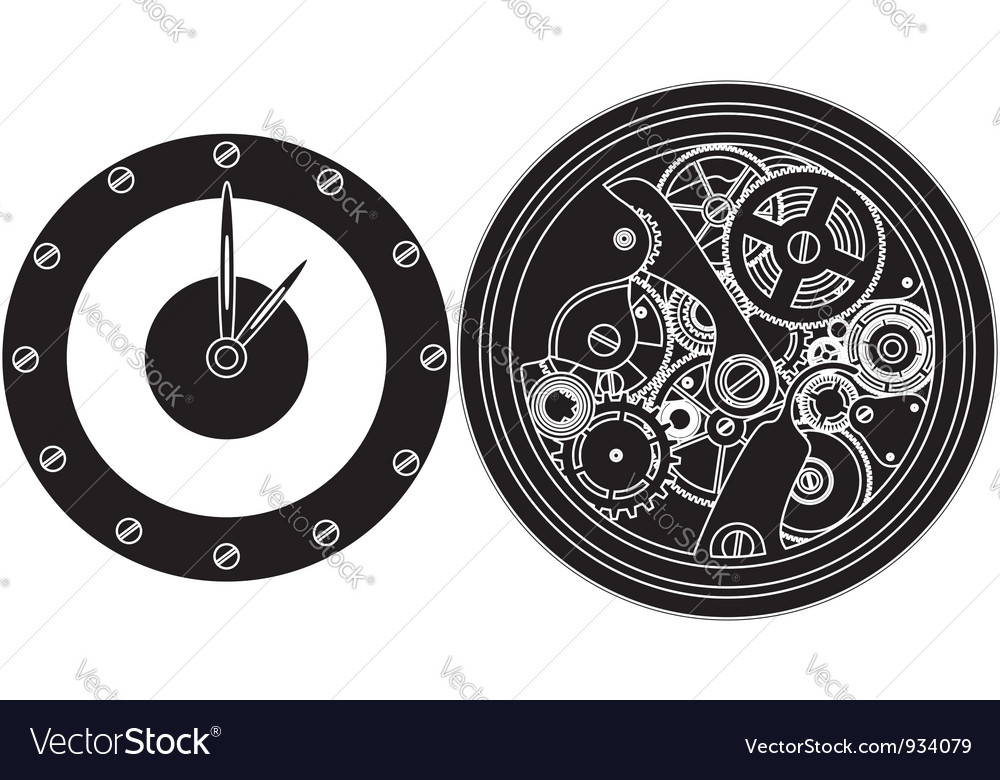 Silhouette clockwork vector