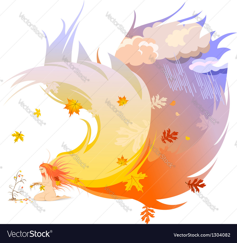 Autumn angel vector