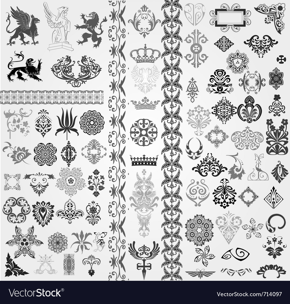 Baroque set vector