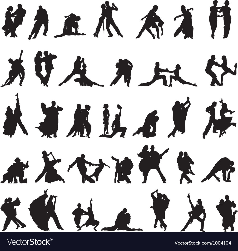 Set of silhouettes of couples dancing tango vector