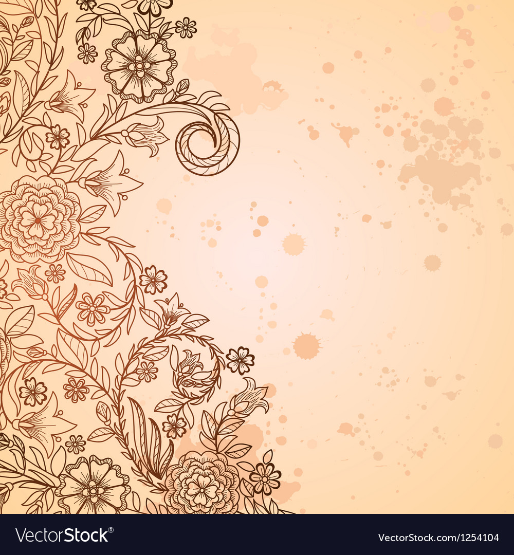 Vintage grungy background with doodle flowers vector