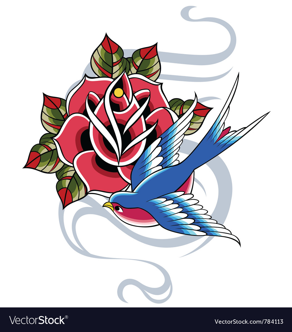 Swallow and rose emblem vector