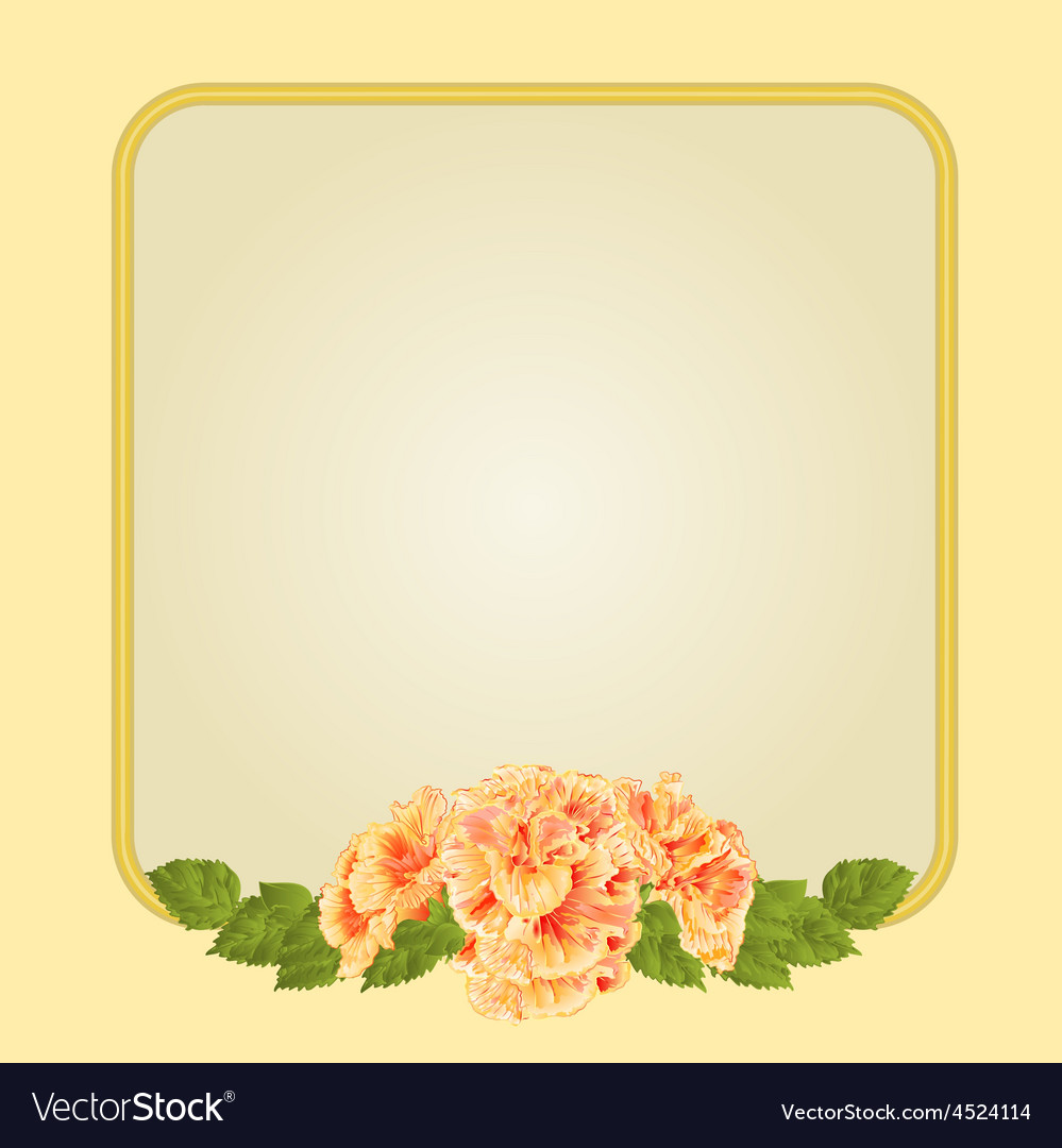 Golden frame with yellow hibiscus greeting card