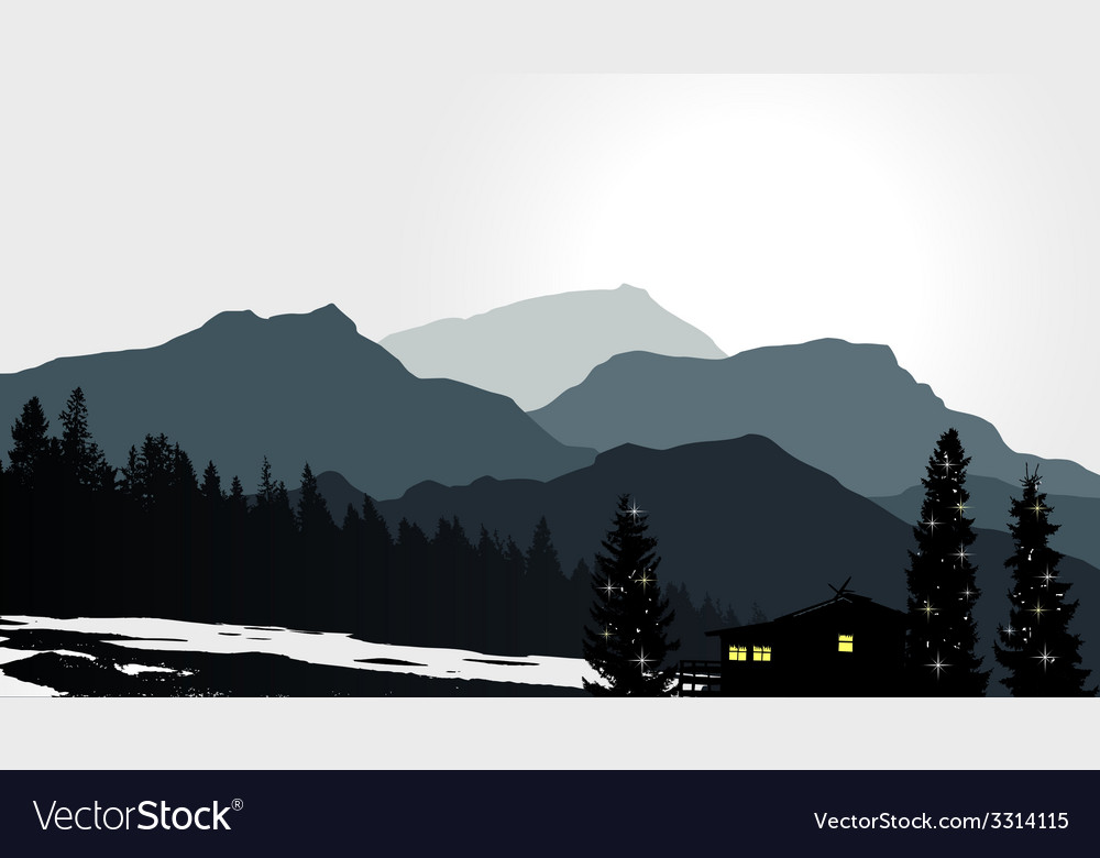 Mountain view with a lonely house