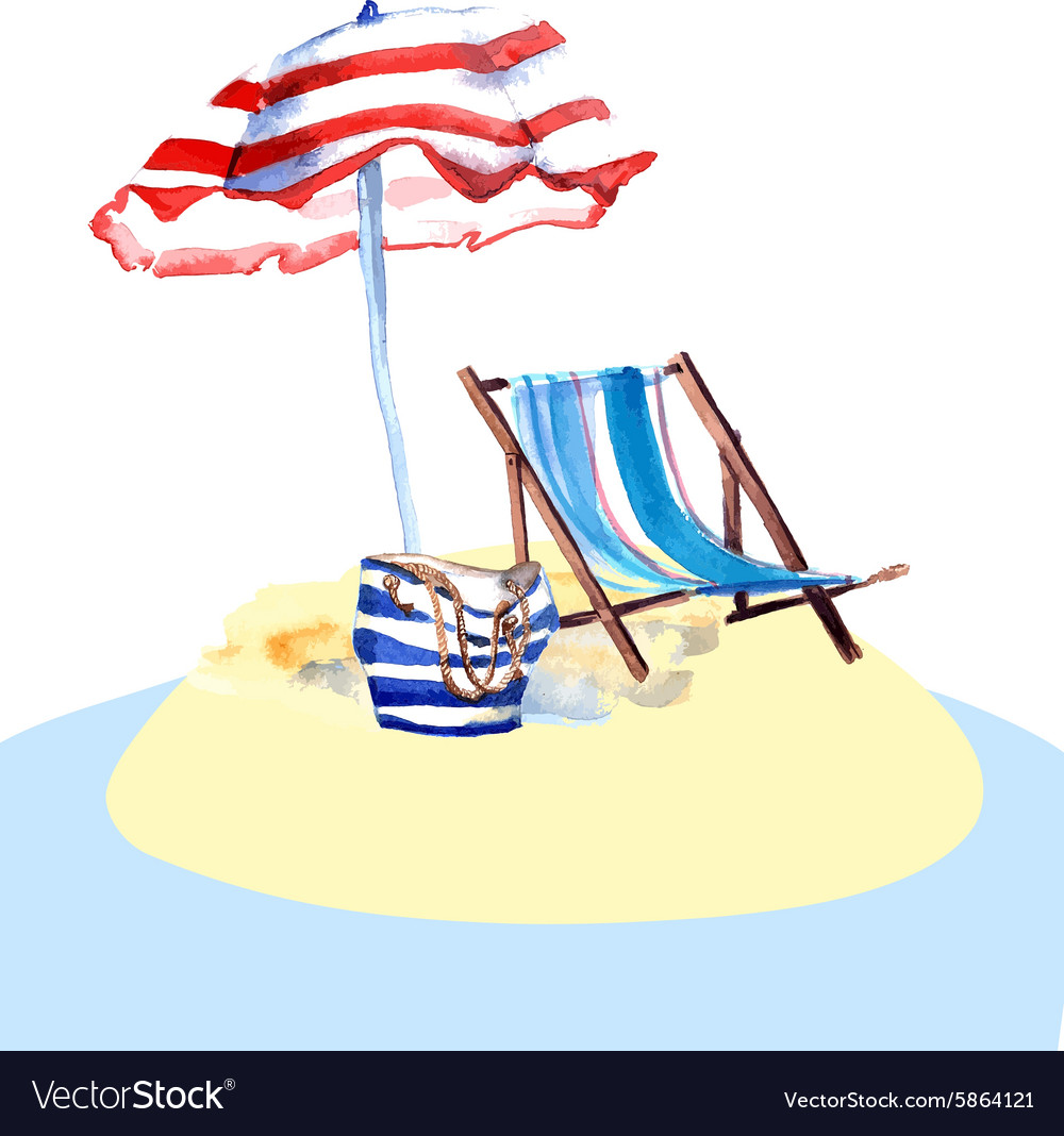Beach chair on island