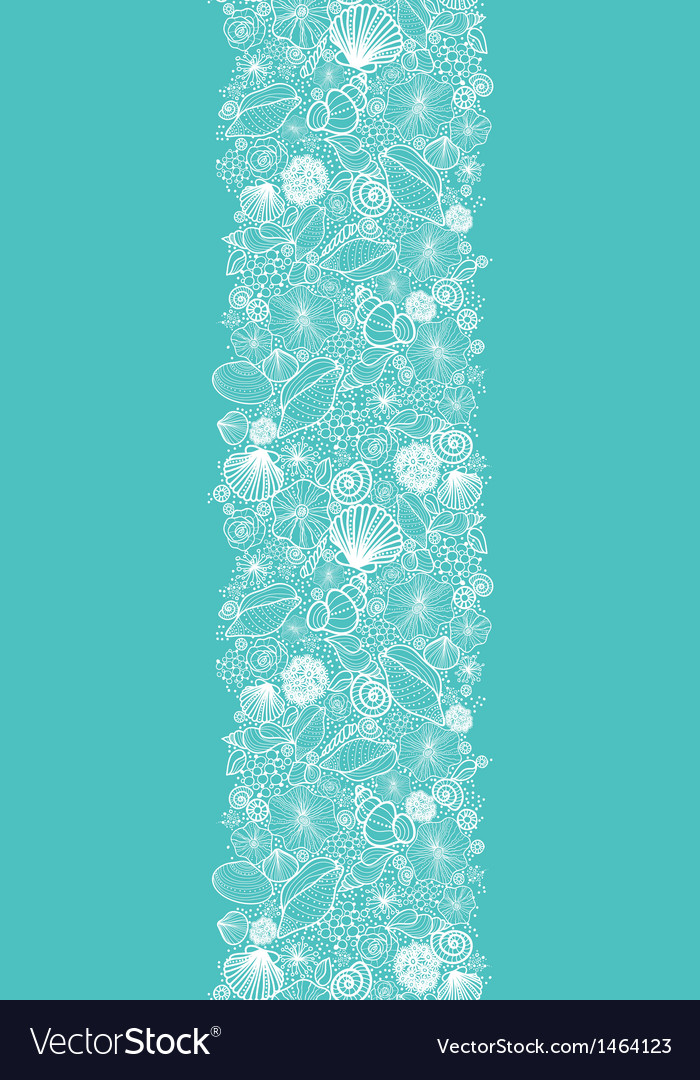 Blue seashells line art vertical seamless pattern vector