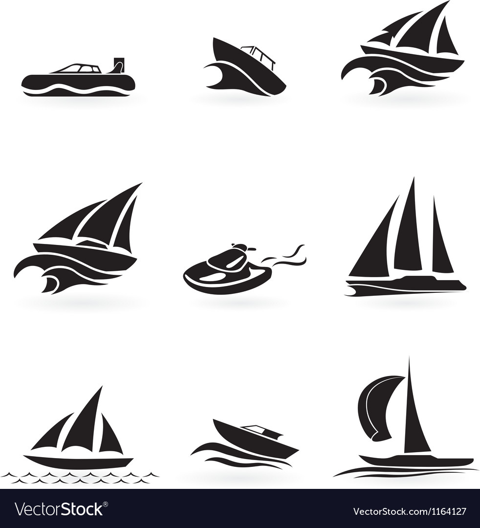 Set of yacht icons vector