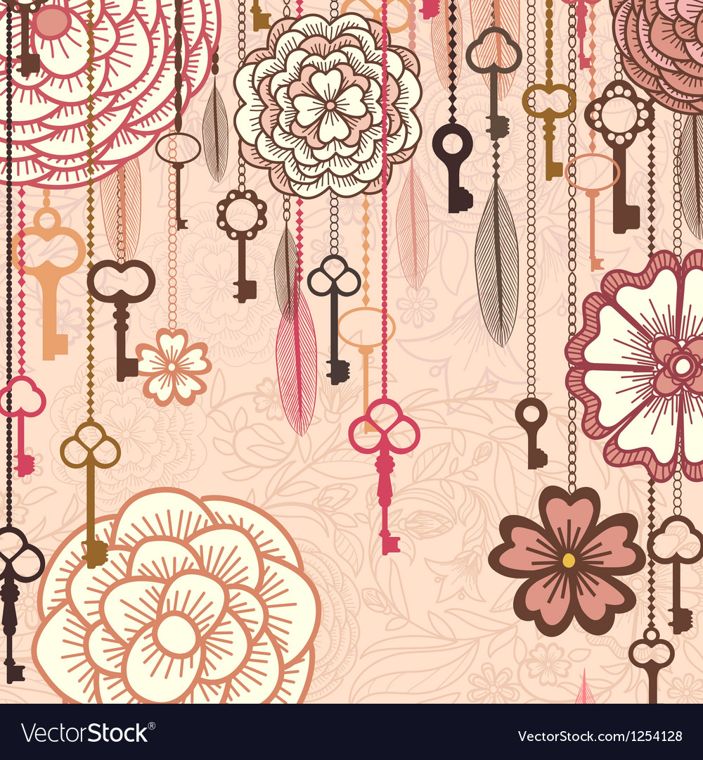 Vintage background with flowerskeys and feathers vector