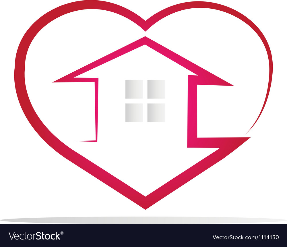 House in a heart vector