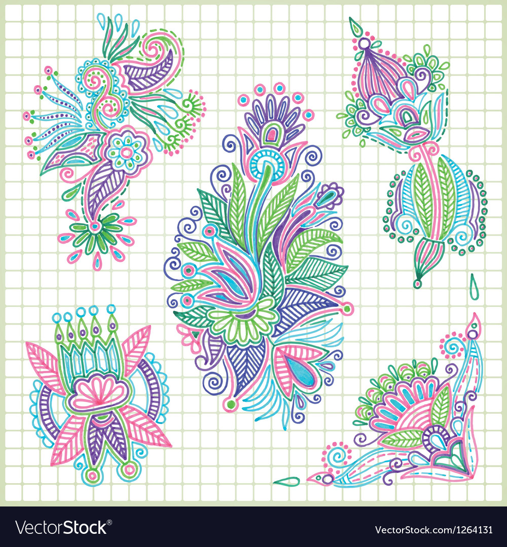 Hand draw doodle flower element set vector